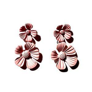 NWT Warm Pink Double Flower Drop Earring Posts.